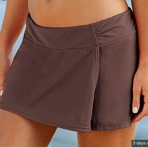 Athleta Womens Brown Sporty Shirred Swim Skirt  M